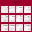 Stock Photo: 2012 calendar on red background