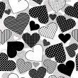 Seamless with black hearts on white background - Stock Photo