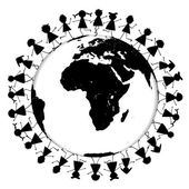 Earth globe with black children silhouettes — Stock Photo