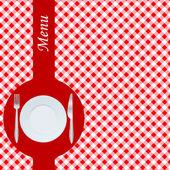 Menu com toalha de mesa vermelha — Foto Stock
