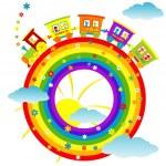 abstrato arco-íris com trem de brinquedo — Foto Stock