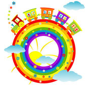 Abstract rainbow with toy train — Stock Photo