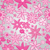 Pink stylized flowers on grey backgorund — Stock Photo