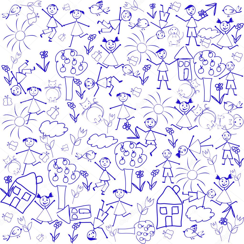 Seamless background with doodle elements — Stock Photo ...