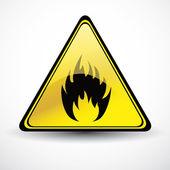 Glossy Fire danger sign — Stock Vector