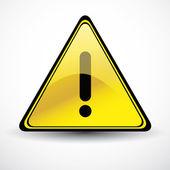 Yellow Glossy Warning danger sign — Stock Vector