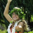 Hawaiian hula danced by a teenage girl — Stock Photo