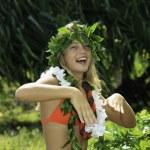 Hawaiian hula danced by a teenage girl — Stock Photo