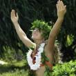 Hawaiian hula danced by a teenage girl — Stock Photo #4136893