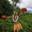Hawaiian hula danced by a teenage girl - Foto Stock