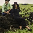Stock fotografie: Eurasisiblings lounging in field