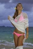 Blond girl in pink bikini and chiffon — Stock Photo