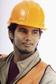 Portrait of a hardhat worker — Stock Photo