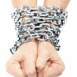 Stock Photo: Hands chained in a chain