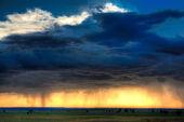 Sun beams shine through clouds — Stock Photo