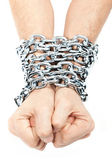 Hands chained in a chain — Stock Photo