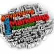 Marketing and advertising cloud word 3d — Stock Photo