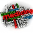 Medicine word cloud 3d render - Stock Photo