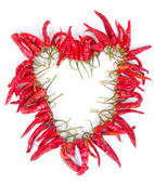 Heart shaped chaplet of dried chilies — Stock Photo
