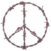 Rusty barbed wire peace sign — Stock Photo