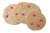 Round handmade colored mats — Stock Photo