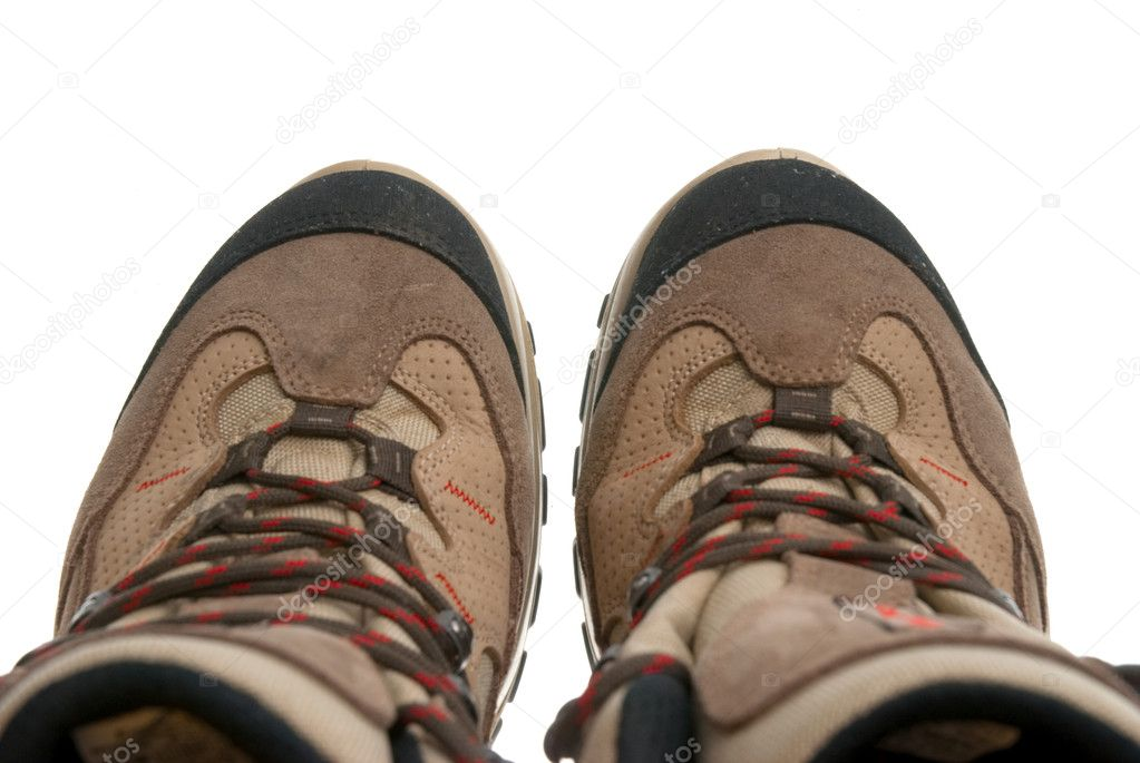 Hiking boots isolated on a white background.  Stock Photo #4040541