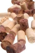 Used corks from bottles guilt — Stock Photo