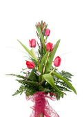 Bouquet of beautiful red tulips — Stock Photo