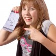 Girl with Note — Stock Photo