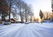Suburban Snow Scene — Stock Photo