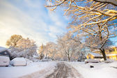Snowy American Neighborhood — Stock Photo