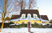 Yellow House in Winter — Stock Photo