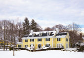 Yellow House Covered in Snow — Stock Photo