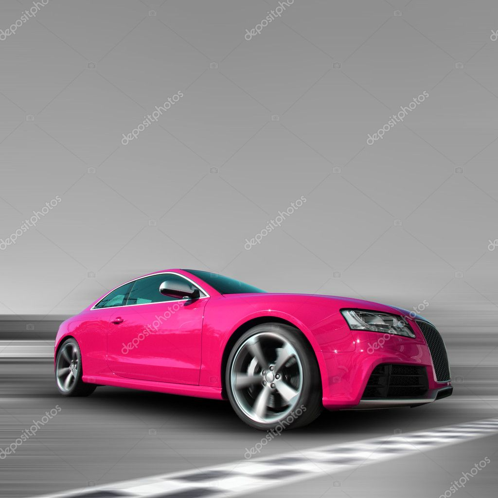 Pink sports car on a black/white background — Stock Photo #4134833