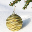 Christmas bauble on christmas tree — Stock Photo
