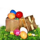 Colorful Easter eggs as a gift — Stock Photo