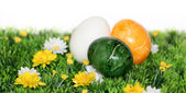 Easter decoration with colored eggs — Stock Photo
