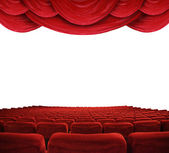 Movie theater with red curtains — Stock Photo