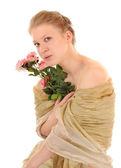 Transparent girl with a rose — Stock Photo