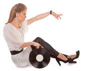 Young girl with a record — Stock Photo