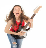 Girl with a guitar — Stockfoto