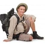 Young tourist on white — Stock Photo #5191764