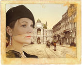 Retro tarzı bir Bayan portresi — Stok fotoğraf