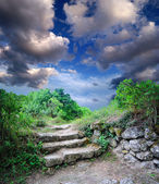 Staircase in the ruins of the ancient cave city — Stock Photo