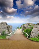 Scenic park wooden bridge — Stock Photo