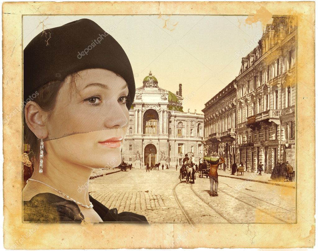 Portrait of a lady in evening dress in retro style. Background created from photos of Odessa (Ukraine) early 20 th century from my personal collection. — Stock Photo #5191038