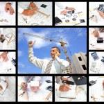 Photo assortment in designing technollogy — Stock Photo
