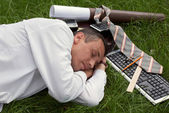 The sleeping engineer-designer — Stock Photo