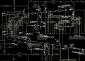 自动化的热机械决定该工程计划 — 图库照片