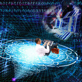 The cosmic technology Internet — Stock Photo